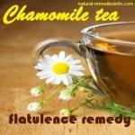 Flatulence natural remedies: chamomile tea